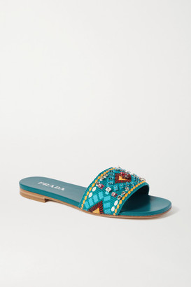 Prada Crystal-embellished Embroidered Canvas Slides - Turquoise