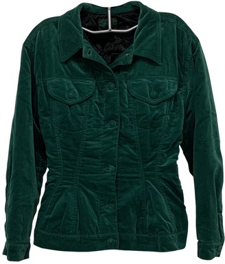 Jean Paul Gaultier Green Velvet Leather Jacket for Women Vintage