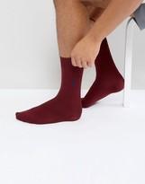 Polo Ralph Lauren Ribbed Socks Egyptian Cotton In Burgundy