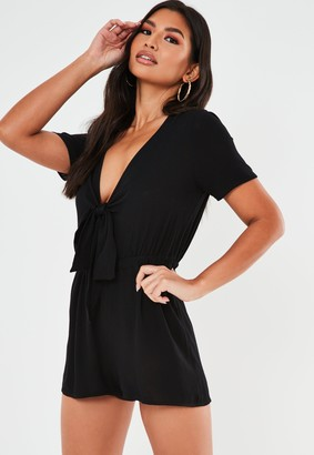 Missguided Black Tie Front Playsuit
