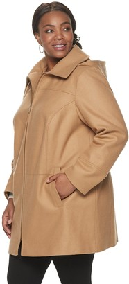 Plus Size TOWER by London Fog Wool-Blend Hooded Coat