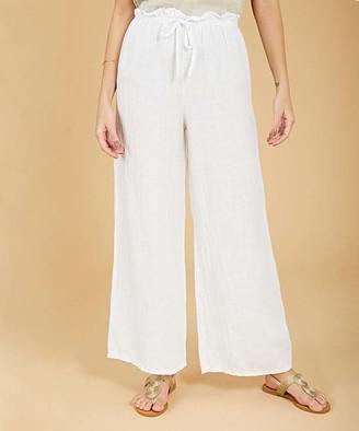 Ornella Paris Women's Casual Pants - White Tie-Waist Linen Wide-Leg Pants - Women & Plus