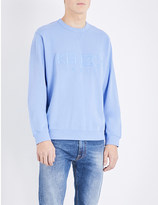 Kenzo Logo-embroidered cotton-jersey and stretch-cotton sweatshirt
