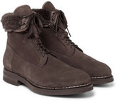 Santoni - Shearling-lined Suede Boots