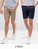Asos 2 Pack Skinny Chino Shorts In Navy And Stone Save