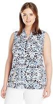 Notations Women's Plus Size Printed Sleeveless Mandarin Collar Blouse