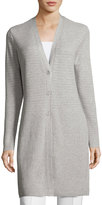 Lafayette 148 New York Long Mixed-Rib Cardigan, Light Gray