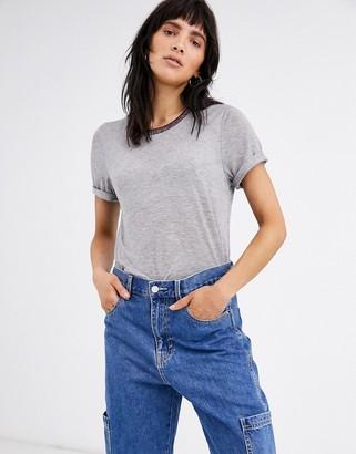 Ichi metallic ringer t-shirt-Grey