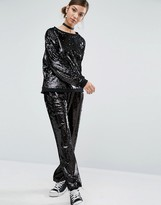 Daisy Street Wide Leg Pants In Sequin