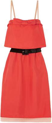 Marc Jacobs Belted Tulle And Velvet-trimmed Silk-twill Mini Dress