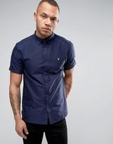 Lyle & Scott Oxford Shirt Short Sleeve Buttondown Regular Fit Eagle Logo in Navy