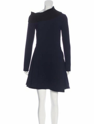 Christian Dior Long Sleeve Mock Neck Dress Blue