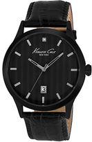 Kenneth Cole Mens Black-Plated Three-Hand Watch with Leather Strap