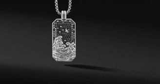 David Yurman Waves Large Tag With Pave Black Diamonds