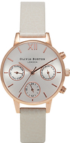 Olivia Burton OB15CGM56 Women's Chrono Detail Midi Dial Chronograph Leather Strap Watch, Mink/Silver