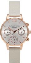 Olivia Burton Women's Chrono Detail Midi Dial Chronograph Leather Strap Watch