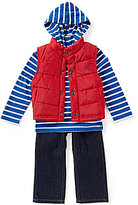 Nautica Baby Boys 12-24 Months Vest, Striped Hoodie & Denim Jeans Set