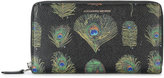 Alexander McQueen Peacock Print Long Zip Wallet
