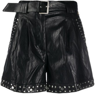 Twin-Set Faux-Leather Studded Shorts