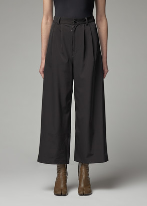 MM6 MAISON MARGIELA Women's Pleated Wide Leg Trouser Pants in Black Size 38 Polyester/Elastane