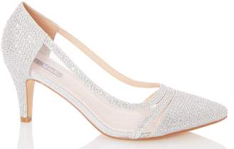 Dorothy Perkins Womens *Quiz Wide Fit Silver Mesh Court Shoes, Silver