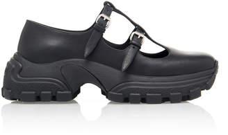 Miu Miu Leather Buckle Flatforms