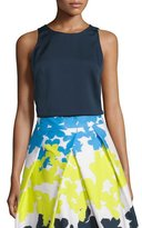 Milly Jewel-Neck Silk Layer Tank, Navy