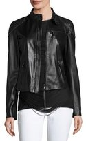 Ralph Lauren Studded Woven-Patch Leather Moto Jacket, Black