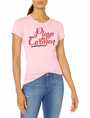 Playa Marky G Apparel Women's Casual Short Sleeve Crewneck Tops Slim Fit T-Shirt with Del Carmen Printed