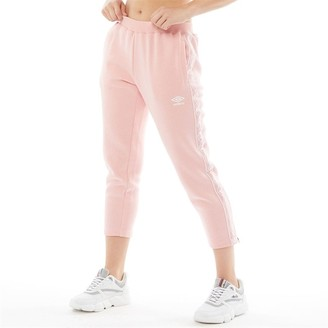 Umbro Womens Active Style Crop Taped Sweat Pants Pale Pink