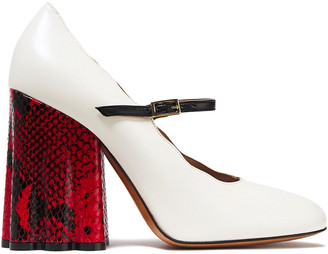 Marni Smooth And Snake-effect Leather Mary Jane Pumps