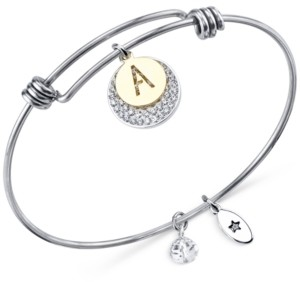 Unwritten Pave and Initial Disc Bangle Bracelet in Stainless Steel and Silver-Plate
