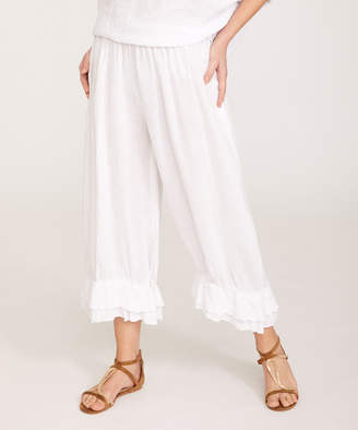 Ornella Paris Women's Casual Pants - White Ruffle-Hem Linen Palazzo Pants - Women & Plus