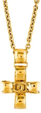 Chanel CC Ribbon Cross Pendant Necklace