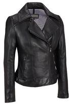 Wilsons Leather Womens Zipper Collar Asymmetric Leather Cycle Jacket
