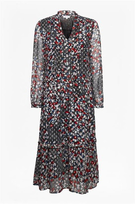 Great Plains Cosmo Flower Long Sleeve Tie Neck Dress