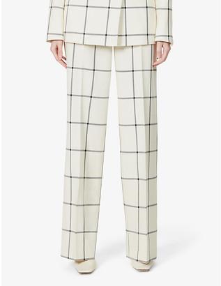 Gabriela Hearst Leda tartan wide-leg high-rise wool trousers