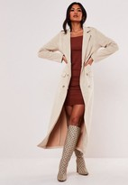 Missguided Stone Faux Suede Maxi Trench Coat