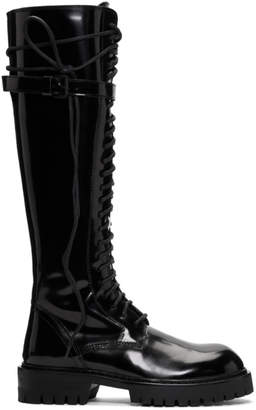 Ann Demeulemeester Black Patent Lace-Up Knee-High Boots