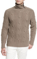 Belstaff Easterton Cable-Knit Turtleneck Sweater, Bark