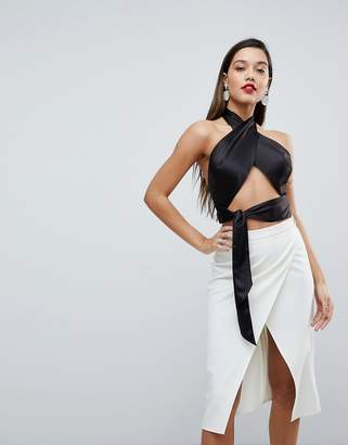 Asos Design DESIGN Sexy Wrap Halter with Tie Detail-Black