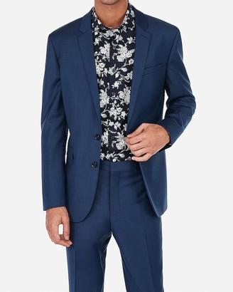 Express Extra Slim Blue Wool-Blend Stretch Suit Jacket