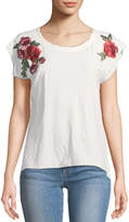 Nation Ltd. Floral-Embroidered Cap-Sleeve Tee