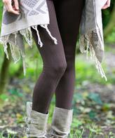Coffee Cable-Knit Fleece Leggings - Plus