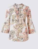 Classic Floral Print Tie Front 3/4 Sleeve Shirt