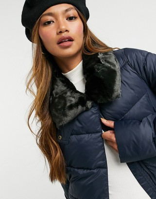 Barbour Mullein puffer jacket with faux fur collar in navy