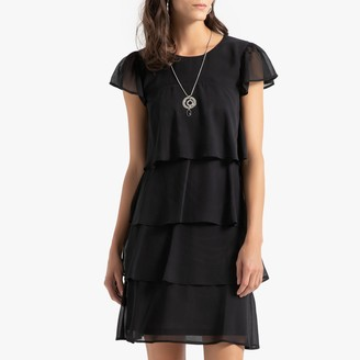 Anne Weyburn Crepe Ruffled Shift Dress in Knee Length with Short Sleeves