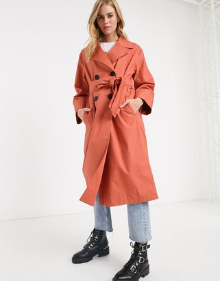 ASOS DESIGN double breasted lightweight trench coat in teracotta