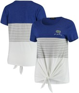 Unbranded Florida Gators Why Knot Colorblocked Striped Knotted T-Shirt - Royal