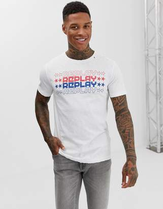 Replay repeat logo crew neck t-shirt in white